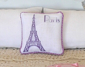 1:12 Pillow - Eiffel Tower - Handmade Dollhouse Scale Miniature - French Lavender Shabby Cottage Purple **Free Shipping**