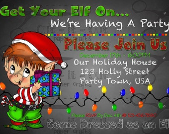 Elf Party Invitation, Christmas Party Invitation