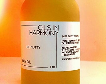 Body Oils | Hair Oils  LIL' NUTTY (Soft, Tropical coconut) -  Frosted 4 oz. Glass Bottle