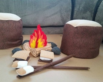 Felt Campfire - photography prop - Tree Stump Seats - pretend campfire  - pretend play - camping - Bonfire - felt food - toy fire -fake fire