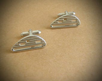 Vintage Mid Century Cuff Links Silver Atomic Design by Hickok