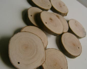 20  Blank Tree Branch Slices 1.5 to 2  inch Top Drilled