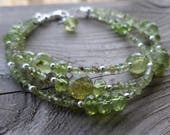 AAA Faceted Green Garnet and Peridot Gemstone Birthstone Bracelet
