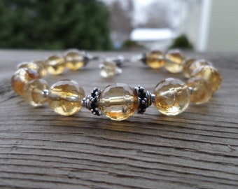 Beautiful Faceted Citrine and Sterling Silver Birthstone Gemstone Bracelet