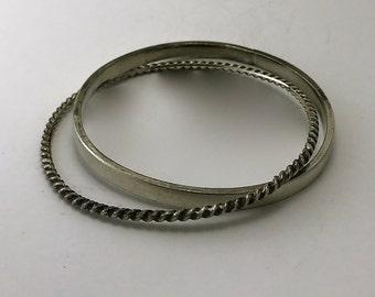 Sterling Silver Double Bangle Bracelet, Artisan Double Minimalist Bracelet, Silver Rope Bracelet w Sterling Silver Bangle, Artisan Jewelry
