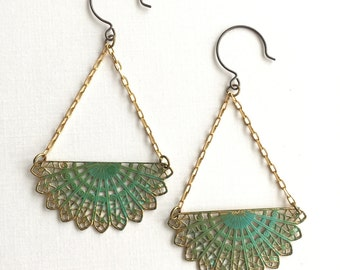 Verdigris Fan Earrings