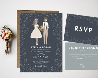Wedding Invitation, Custom portrait wedding invitation, Portrait Invitation, Wedding Portrait, Invitation Suite, Illustration