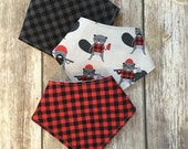 Baby Bandana Bibs - Bibdanas - Waterproof Teething Bibs - Drooler Bibs - Hipster Boy Bandanas - Red Black Buffalo Plaid