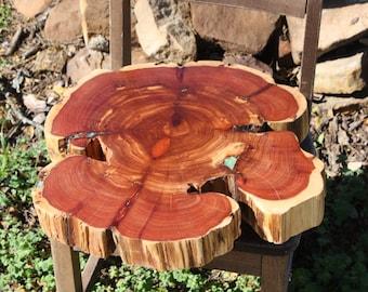 "Lazy Susan, Cedar Tree Slice, centerpiece, rustic home decor,  18""x15"" diameter x 3"" in height, rustic, outdoor, backyard, barn or woodland"