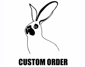 Custom Order - Dutch Rabbit tshirt dress - eco two color screenprint on fine Jersey  cotton - size M