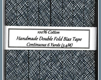 Handmade Double Fold BIAS Tape in Navy Blue and White Crosshatch Pattern - 1 Yard Sample or 6 Yard Package