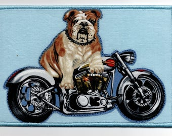 Handmade Bulldog on a Harley Motorcycle Quilted Fabric Postcard