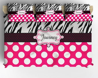 Personalized Custom Zebra and Polka Dot Bedding - Twin Daybed Comforter & 3 Pillowcovers