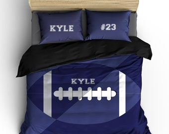 Custom Personalized Football Bedding, 2 contrast Shades Blue, Sizes Twin, F-Queen, Duvet Cover or Comforter Options