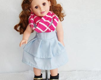 """18 inch Doll's Dress, dolls infinity scarf, doll boots, 18"""" doll outfit, blue striped doll dress, pink doll scarf, doll fashion boots"""