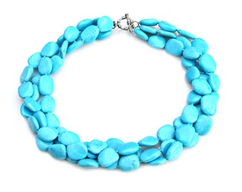 Blue Turquoise STATEMENT Necklace Triple Strand Country Chic Robins Egg Blue Couture Boho Chic Jewelry Rustic High Fashion Style Mei Faith