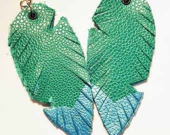 Painted Leather Faux Feather Earrings Large Blue Green Turquoise  Metallic Surgical Steel Wires Bohemian Jewelry