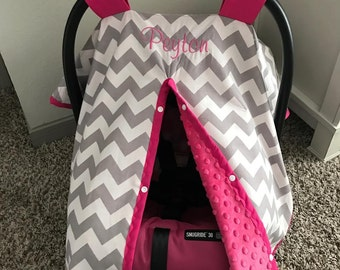 Adorable Baby Car Seat Covers - Gray Chevron with Hot Pink Fuschia Minky and Trim - Baby Gift - Baby Girl - Shower Gift