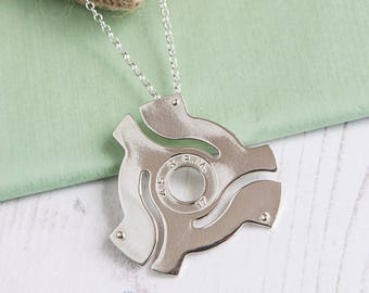 Sterling silver Hallmarked 45 RPM adapter necklace Handmade Record Vinyl Lovers