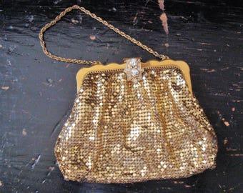 SALE Vintage Whiting & Davis Gold Mesh Small Evening Handbag Art Deco Rhinestone Clasp