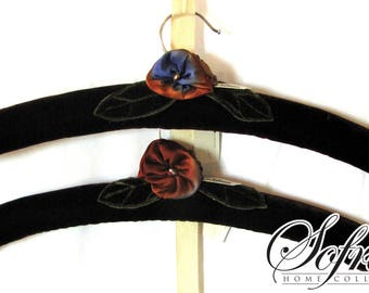 Flower Padded Hangers | Set of Two | Silk & Deep Wine Colored Velvet | Hand Embroidered | Blue, Red Floral Design | No More Boring Closets!