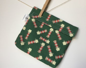 Reusable eco friendly washable Sandwich Bag - plaid thermos red green