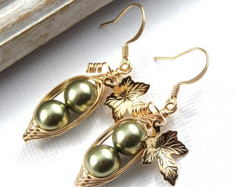 Peas In A Pod, Two Peas In A Pod Gold Earrings, Choose Your Color, Pea Pod Jewelry