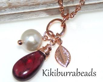 Garnet Necklace,Rose Gold Necklace,Rose Gold Jewelry,Gemstone Necklace,January Birthstone,Birthstone Necklace,Mothers Necklace,Mothers Day