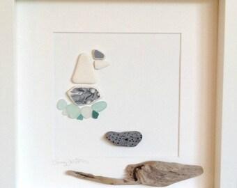 Irish Sea Glass and Sea Pottery Sailboat Wall Art