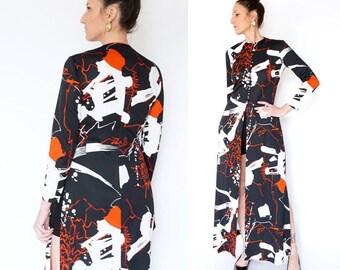 vintage 70s ABSTRACT print LILLIE RUBIN maxi dress S
