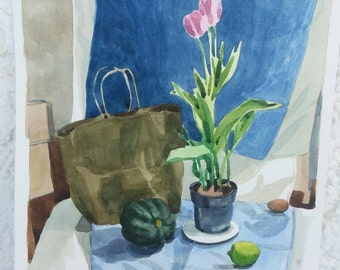 Tulips with unlikely company- original watercolor painting