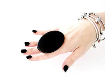 Statement Ring Adjustable,  big ring,  bold ring, ceramic ring, large ring, black ring, handmade ring by Studioleanne - 2.6 inch