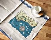 Half Moon Bay Map Kitchen/Tea Towel