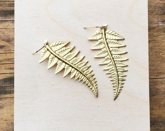 Gold Fern Leaf Earrings Forest Woodland Wedding Nature Gold Grecian Pacific Northwest Fern Frond Gift for Her Botanical Jewelry Leaves
