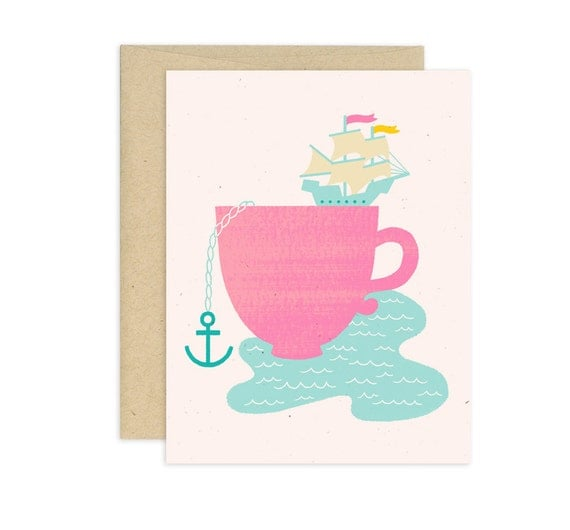 Cup of Sea Illustrated Greeting Card