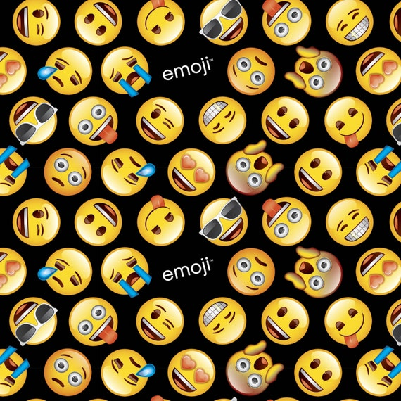 Emoji Emoticons On Black Background Quilting Sewing 100