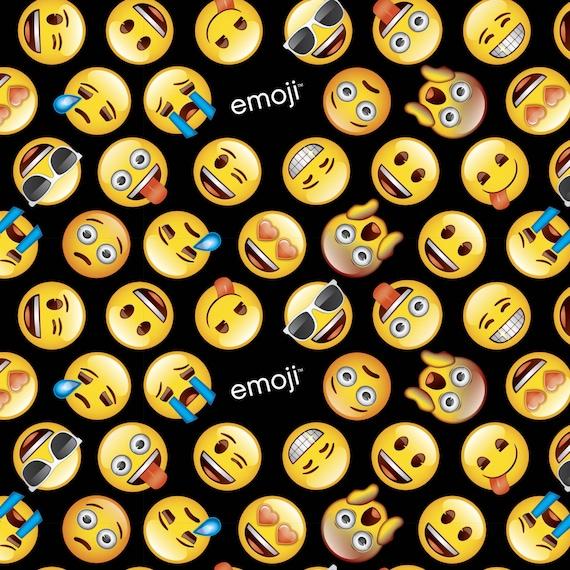 Emoji emoticons on black background quilting sewing 100 for Emoji fabric