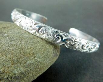 Art Deco Floral Silver Cuff Bracelet, 6mm Wide Sterling Silver Open Bangle, Layering Bracelet Everyday Jewelry, Adjustable Stacking Bracelet