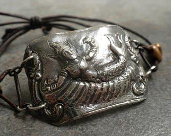 Mermaid Jewelry Bohemian Bracelet Leather and Silver Suvannamaccha