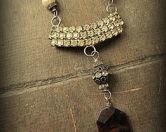 Vintage MUSI Rhinestone and Garnet Assemblage Necklace