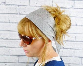 Non Slip Headscarf - Grey Polka Dot