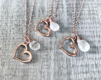 Rose Gold Heart Necklace, Rose Gold Necjla e, Heart Charm Pendant, Moonstone Pendant, Love Jewelry, Rose Gold Charm Necklace, Gift for Women