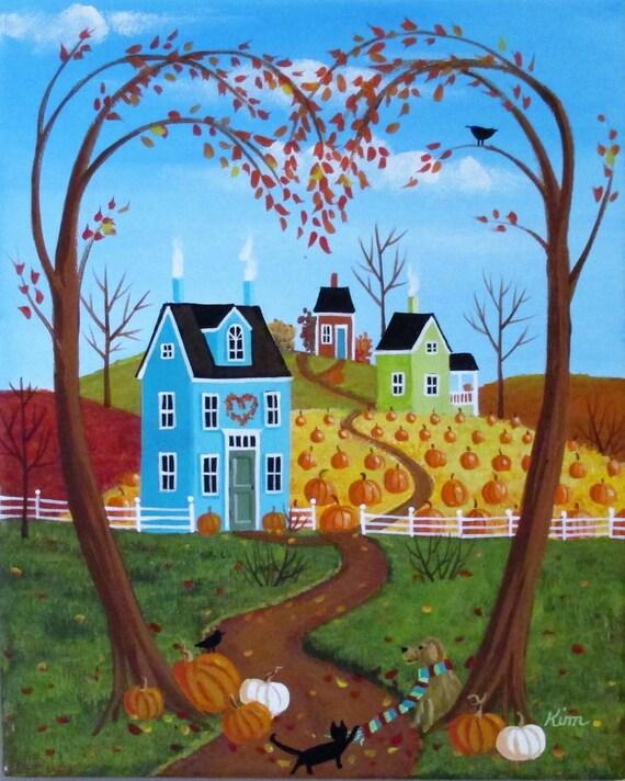 Coeur de l'automne Folk Art Print