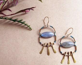 Natural Landscape Earrings - Labradorite Statement Earrings - Dramatic Artisan Blue Rose Brass Earrings