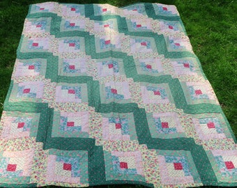 PAIR vintage quilt, log cabin quilts, 2 quilts, 1970s bedcovers,  twin bed covers, country decor, homemade quilt, green pink patchwork