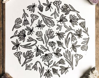 The Garden | Relief print of bees & flowers on paper