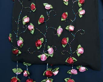 Romantic Rose Shawl Unique Black Oblong Silk Rose Appliqués Large Dressy Wrap Scarf Shawl Pink Red Roses OOAK Stunning FavoriteCollectibles