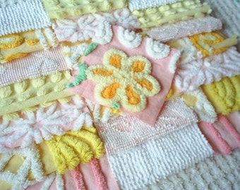 Vintage Chenille Bedspread Squares -Pretty Pink and Yellow- 22-6""
