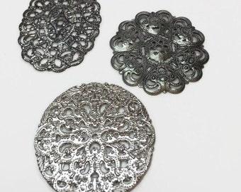 Filigree Pendants, Silver Tone Filigree, Destash