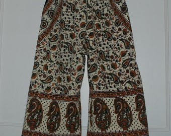 Kids Hippie pants- size 4- Rust Green Bagroo -can be Capris or Jams on a 6 yrs.old-boys or Girls